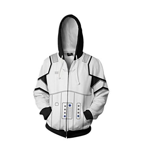 Kapuzenpullover,Marvel Captain 3D Pullover Star Wars Cardigan Zip Hoodie Cosplay Kostüm,XL,Weiß - Kostüm Wars Star Hoodie