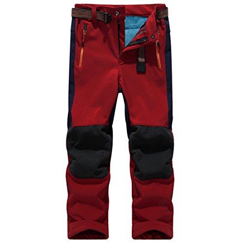 "SiDiOU Group Deporte al aire libre Pantalones de Trekking Niño Pantalones de Montaña Softshell Pantalones Impermeable Pantalones Senderismo Niña Pantalones de Escalada Chicas Pantalones Forro Polar (XS 21""(cintura: 54cm-68cm), Rojo)"