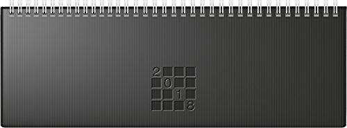 rido/idé 703616190 Tischkalender/Querterminbuch septant, 2 Seiten = 1 Woche, 305 x 105 mm, Papier-Einband Linea schwarz, Kalendarium 2018, Wire-O-Bindung