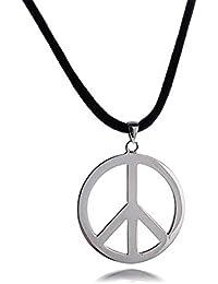 Bling Jewelry Círculo Paz Collar colgante de Plata Esterlina Cuero Negro 18en cable