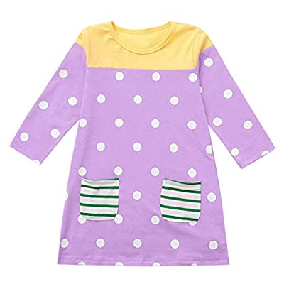 Oyedens Toddler Baby Girls Long Sleeve Cartoon Dot Print Dress Clothes Dresses : everything £5 (or less!)