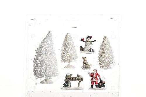 Bäume Nikolaus Schneemann Figuren Winterlandschaft Weihnachten Tischdeko Landschaftsdeko 7 tlg