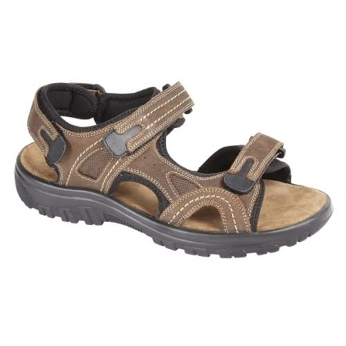 New Mens Nubuck Leather Velcro Strap Sports Walking Open Toe Sandals (11...