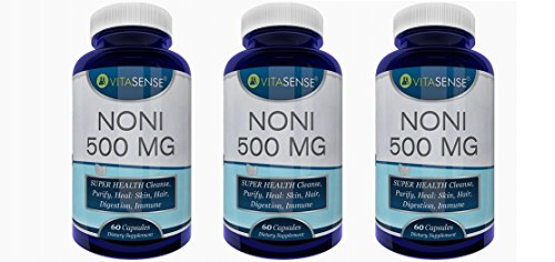Drei Pack (Packung mit 3) VitaSense Noni 500 Mg - SUPERGESUNDHEIT Reinigt, läutert, Heilt: Haut, Haar, schützt Verdauungs,- und Immunsystem - 60 Kapseln by RIVENBERT