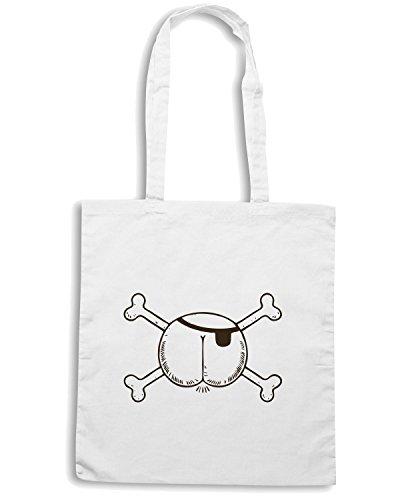 T-Shirtshock - Borsa Shopping FUN0896 butt pirate womens plus size vneck tshirt Bianco