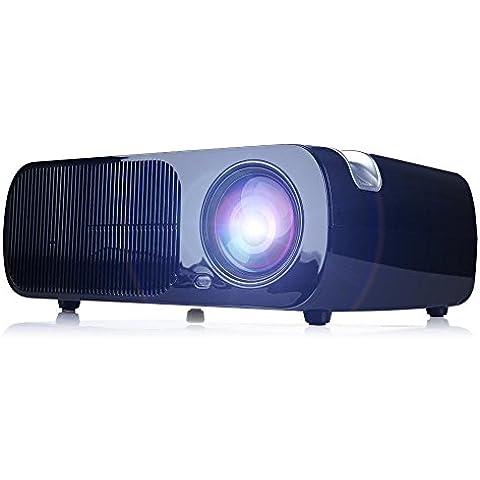 HD 2600 lúmenes del proyector LED, la ayuda 1080P, corrección de distorsión, soporte para HDMI USB VGA película AV casa -Teatro teatro, juegos para niños--Negro
