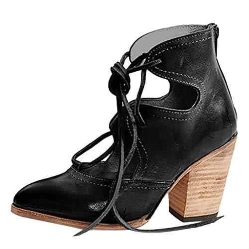 SEHRGUTGE Damen Retro Bandage Pumps, Römer Sandalen mit Spitzen Zehen und Riemchen, Block Chunky High Heels Pumps Stiefel Sandalen (Schwarze Riemchen Mädchen Kostüm Heel Schuhe)