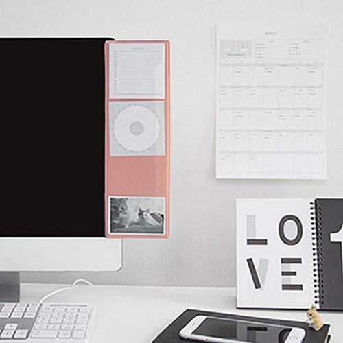 Monitor-Seitentafel Memoboard Haftnotizen Halter Transparent Clip Haftnotizen Memo-Pad Board Reminder für Computer Laptop TV Bildschirm Schränke Regale 8,9 x 30,5 cm 100x310mm(3.5x12'') rose -