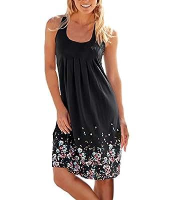 Women's Summer Floral Printed Maxi Dress Sleeveless Sexy Mini Beach Party Sundresses (Small, Black)