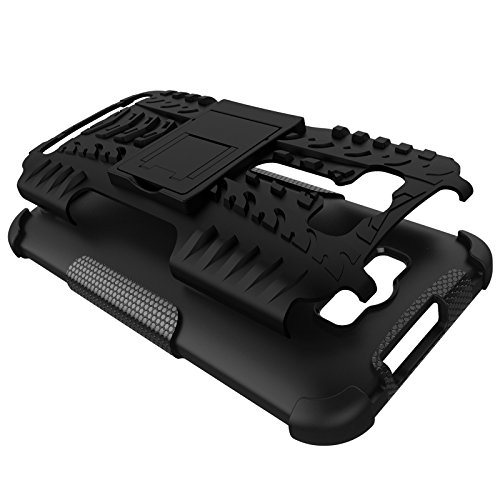 CASSIEY Hard Hybrid Armour Rubber Bumper Kick Stand Back Case for ASUS Zenfone 2 Laser ZE500KL 5 Inches (Black)