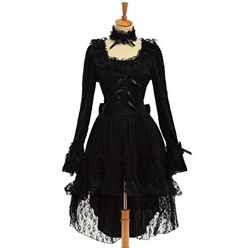 GRACEART Damen Gotisch Lolita Prinzessin Schwarz Spitze Kleid mit Halsband (Medium)