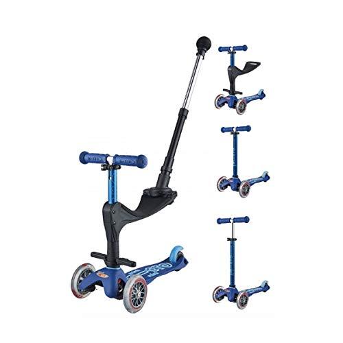 Micro Mini 3en1 Deluxe Plus, Azul. Patinete evolutivo 3 Ruedas, 1,5 - 5 años, Manillar Regulable 48-68cm, Asiento + Reposapiés + Bastón de Empuje, (Azul)