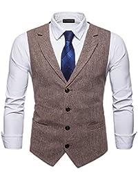 ... Costumes et vestes   Beige. YCUEUST Homme Tweed Single-Breasted  Classique Gilets Parti Formal Waistcoat Suit Vest 94551399e8fc