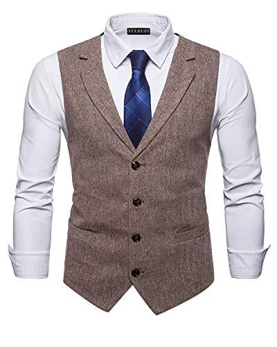 YCUEUST Herren Business Freizeit Anzugweste Slim Fit Elegant Vintage Tweed Ärmellose Westen Braun Large - Tweed Vintage-anzug