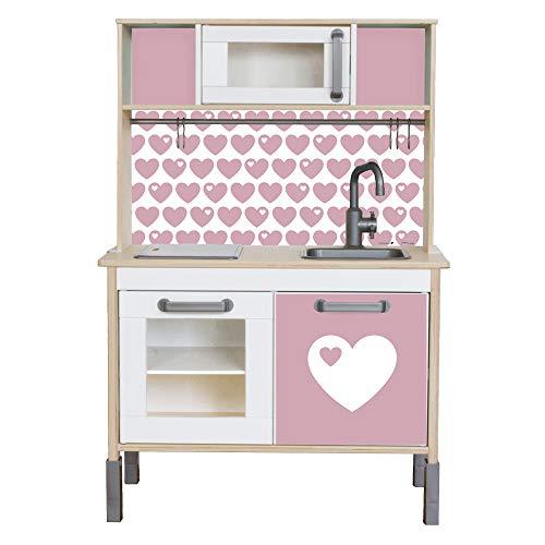 Limmaland Sticker byGraziela Herz passend für Deine IKEA Kinderküche DUKTIG (Farbe Rosa) - Möbel Nicht inklusive