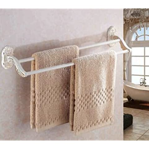 LYNDM 60 cm doble Toalla Toalla de baño elegante barra de soporte de accesorios de baño de Pared Toallero Toallero breve, blanco(#MJG0309)