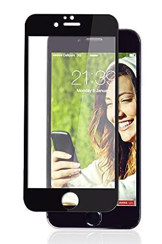 Protecteur d'écran iPhone 7 avec Bordure Noire 100% de couverture totale pour l'écran, de SWISS-QA, le meilleur verre trempé anti-rayures, 99% Transperanct, Perfect Fit avec tous les étuis iPhone
