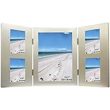 5 De Imagen De Plata Satinado De Aluminio Cepillado De Color Plegable De Múltiples Marco De Fotos - 1 Foto De 13 X 18 Cm Y 4 Fotos De 5 X 8 Cm