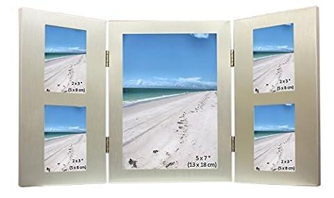 5 Bild gebürstetes Aluminium Satin Silber farbiges Multibilderrahmen - Ein Foto der 5 x 7 Zoll (13 x 18 cm) und 4 Fotos von 2 x 3 Zoll (5 x 8 cm) stattfinden