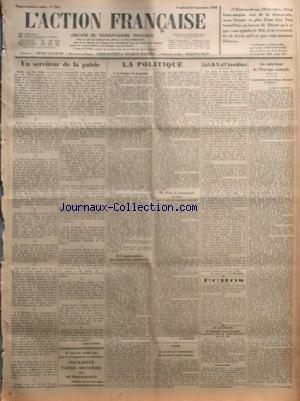 ACTION FRANCAISE (L') [No 265] du 21/09/1928 - UN SERVITEUR DE LA PATRIE PAR LEON DAUDET - LA POLITIQUE - I - LE BUDGET DE LA GUERRE - II - L'AUGMENTATION DES TRAITEMENTS MINISTERIELS - III - POUR LA PROPAGANDE A CEUX QUI N'ONT PAS ENCORE SOUSCRIT PAR G. LARPENT - A ROME - LE PROJET DE CONSTITUTION DU GRAND CONSEIL FASCISTE - LA S.D.N. ET L'ANSCHLUSS PAR J. LE BOUCHER - ECHOS - EN ALLEMAGNE - LE DIRIGEABLE COMTE ZEPPELIN A PARCOURU PLUS DE 1.000 KILOMETRES EN 9 H. 28' - L'ATTERRISSAGE - AU CARR