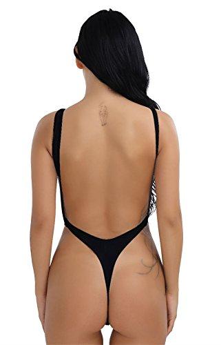 IINIIM Maillot de Bain 1 pièces Femme Sans Dos à Grande U Justaucorps Gym Lingerie High Cut Body String Leotard Dancewear Sous-vêtements Taille Haute S-XXL (S, Noir)