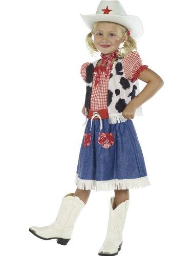 Smiffys Karneval Kinder Kostüm Cowgirl Western Kleid Mädchen Größe 4-6 Jahre (Kleid Kinder Cowgirl)