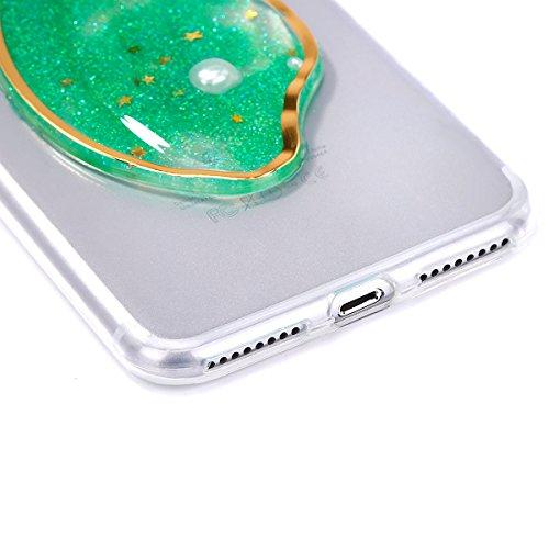 Etsue Glitzer Silikon Schutz HandyHülle für iPhone 7 Plus 2016 Bling TPU Hülle, Schön Mermaid Muster Luxus Glitzer Glanz Paillette Silikon Handytasche Ultradünnen Weiche Durchsichtig Handyhülle Soft C Diamant,Grün