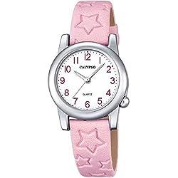 Calypso Children's Watch Elegant Analogue Leather Strap Watch Quartz Dial White Pink UK5708/2