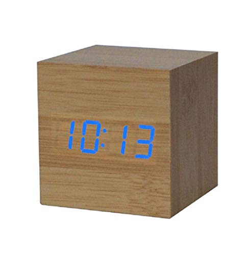 Tomatoa Digital Holz LED Uhr Design Holz Funk-Wecker LED Alarm Uhr Hölzerne Wecker Cube Wecker Anzeige Digital Wecker