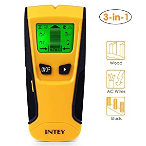 Intey – Detector de pernos con modo de escaneo 3 en 1 para metal, cable de CA y modo de escaneo de tornillos, pantalla LCD retroiluminada y centro de búsqueda de metal