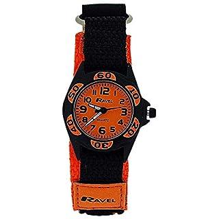 AVEL Analoge Jungen-Armbanduhr mit schwarz-orangenem Textilarmband und Klettverschluss R1507.26