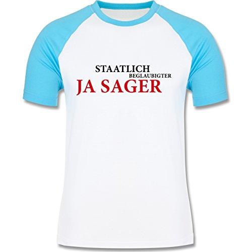 JGA Junggesellenabschied - Staatlich beglaubigter JA Sager - zweifarbiges Baseballshirt für Männer Weiß/Türkis