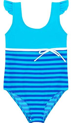 Merry Style Mädchen Badeanzug MSVRKind1 (Blau/Kornblumen, 146) (Verziert Mieder)