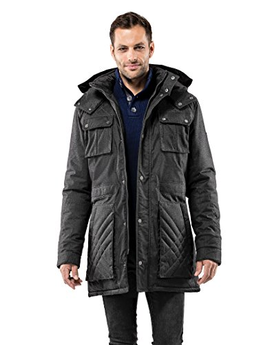 Vincenzo Boretti Herren Winter-Jacke dick warm gefüttert Parka kuschelig sportlich elegant Winter-Mantel Slim-fit tailliert lang für Outdoor Business mit Steh-Kragen und Kapuze anthrazit L Warme Winter-jacke
