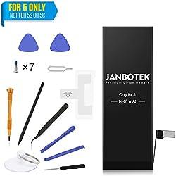 JANBOTEK Batterie iPhone 5 de Remplacement - Kit de réparation avec Outils, adhésif et Instructions - Nouvelle Batterie 1440mAh, 0 Cycle, 500 Cycles de Recharge - Garantie de 24 Mois