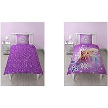 Character World–Funda nórdica de 140x 200cm + funda de almohada de 60x 70cm bajo licencia Anna y Elsa de Frozen 100% algodón rosa 24x 30cm