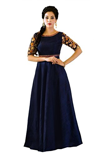 Shopaholic Enterprise Nevy Blue Cotton Anarkali Partywear Dress With Dupatta