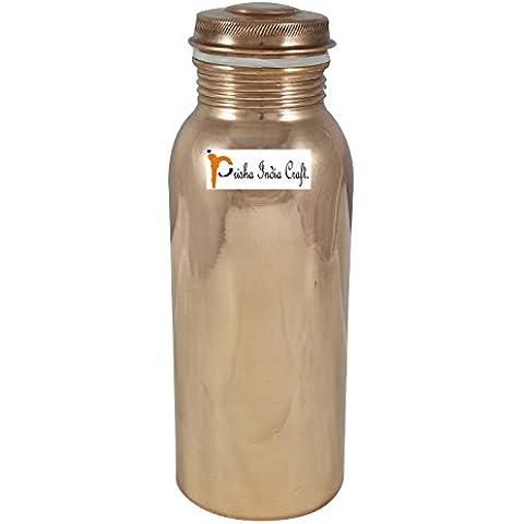 700ml / 23.67oz - Prisha India Craft ® per il viaggiatore 100 % di rame puro di acqua in bottiglia o Thermos per la Salute Ayurveda benefici - fatti a mano le bottiglie di acqua - un regalo di Natale