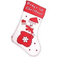Babys 1st Christmas WHITE First %2F Calza di Natale a forma di Babbo Natale, 40 x 26 cm con pupazzo di neve, ossia ideale come regalo Pre-natalizio