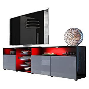 Tv unit stand granada v2 carcass in black high gloss for Black kitchen carcasses