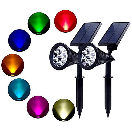 Xindaxin® Solar Gartenleuchten 7 Farben Superhelle Outdoor Spotlight LED IP65 Wasserdicht für Zaun Hinterhöfe Gärten Rasen,2 Stück - Blatt-akzent-lampe