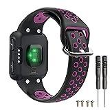 T-BLUER Watch Band Compatible for Garmin Forerunner 35 Correa,Accesorio de Pulsera de Pulsera de reemplazo de Silicona Transpirable Compatible con Garmin Forerunner 35 Reloj Inteligente,Negro Morado