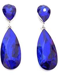 bbac470c25aa Pendientes Largos Mujer Bisutería Cristales de Colores Fiesta Boda Forma  Lágrima Chapado Oro