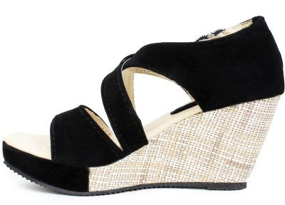 Kanchan Women's Heel Delux Zip Black Sandal (Indian 7/Eu 40)