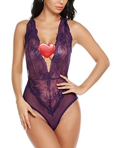 Avidlove Damen Body, offener Rücken, Halfter mit Teddybären, Spitzenbesatz, einteilig - Violett - Groß