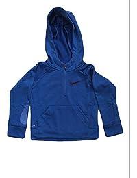 NIKE Infant Toddler Dri-Fit Therma Hoodie (2T, Blue Black Swoosh Full Zip)
