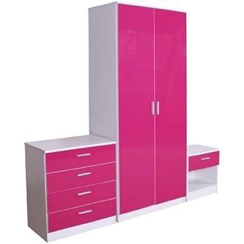 lovemyhomefurnitures pink high gloss trio bedroom furniture set
