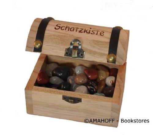 AMAHOFF Schatzkiste mit Aufdruck - inkl. Edelsteine (2-3cm) - nachhaltiges Plantagenholz - robust & stabil