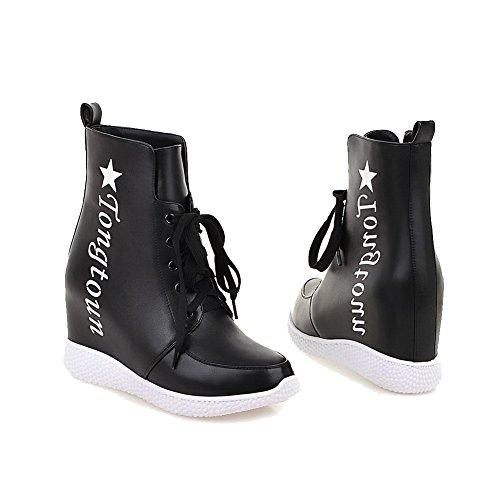 VogueZone009 Damen Gemischte Farbe Hoher Absatz Schnüren Rund Zehe Stiefel mit Knoten, Weiß, 34