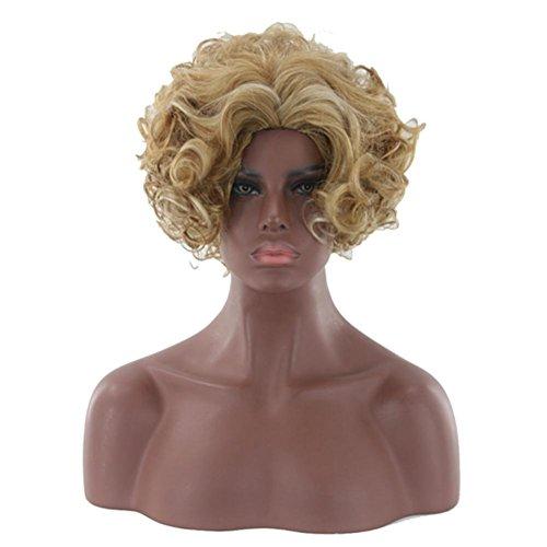 HAPPYMOOD Blonde kurze Party Karneval Perücken-Full Head lockiges Kunsthaar Perücke mit freier Kappe für Frauen